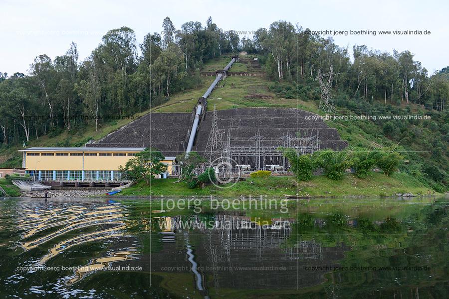 RWANDA, Musanze, Ruhengeri, lake Ruhondo, Ntaruka Electrical Station, hydro-power station, the water is running down from the upper lake Burera  through a tube to the turbine in the power house