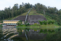 RWANDA, Musanze, Ruhengeri, lake Ruhondo, Ntaruka Electrical Station, hydro-power station, the water is running down from the upper lake Burera  through a tube to the turbine in the power house