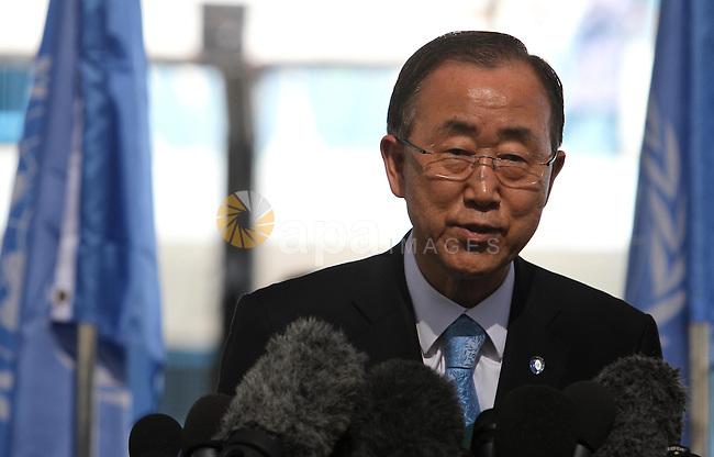 United Nations (UN) Secretary General Ban Ki-moon speaks during a press conference as he visits Abu Hussein United Nations school at the Jabalia refugee camp in the northern Gaza Strip on October 14, 2014.  The UN chief's visit to the Gaza Strip came a day after a Cairo conference at which international donors pledged USD 5.4 billion (4.3 billion euros) to rebuild the war-ravaged Gaza Strip. Photo by Mohammed Asad