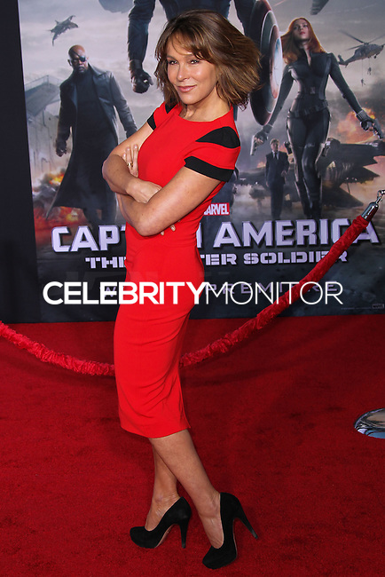 """HOLLYWOOD, LOS ANGELES, CA, USA - MARCH 13: Jennifer Grey at the World Premiere Of Marvel's """"Captain America: The Winter Soldier"""" held at the El Capitan Theatre on March 13, 2014 in Hollywood, Los Angeles, California, United States. (Photo by Xavier Collin/Celebrity Monitor)"""