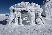 Appalachian Trail - Rime ice on the summit of Mount Washington in the White Mountains, New Hampshire USA during the winter months.