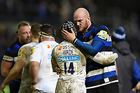 Matt Garvey of Bath Rugby with Christian Wade of Wasps after the match. Aviva Premiership match, between Bath Rugby and Wasps on December 29, 2017 at the Recreation Ground in Bath, England. Photo by: Patrick Khachfe / Onside Images