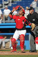 Batavia Muckdogs catcher Audry Perez during a game vs. the State College Spikes at Dwyer Stadium in Batavia, New York August 29, 2010.   Batavia defeated State College 6-4.  Photo By Mike Janes/Four Seam Images