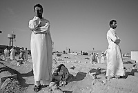 Libyan men mourn during funeral ceremony in Zintan, Libya