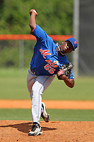 New York Mets pitcher Akeel Morris #55 during a minor league spring training intrasquad game at the Port St. Lucie Training Complex on March 27, 2012 in Port St. Lucie, Florida.  (Mike Janes/Four Seam Images)