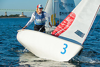 Sean Beaulieu,'18,  practices with other members of the Salve Regina Sailing Team in the Newport Harbor.