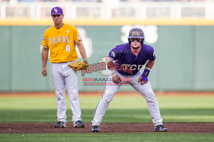 TCU Horned Frogs catcher Evan Skoug (9) takes his lead off of second base against the LSU Tigers in Game 10 of the NCAA College World Series on June 18, 2015 at TD Ameritrade Park in Omaha, Nebraska. TCU defeated the Tigers 8-4, eliminating LSU from the tournament. (Andrew Woolley/Four Seam Images)