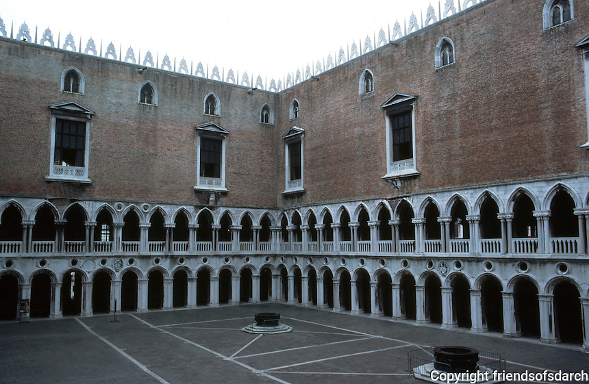 Venice:  Doges' Palace, Courtyard originally built in 12th C.--possibly brick work from that time?  marble arches much later--14, 15, 16th C.?  Photo  ''83.
