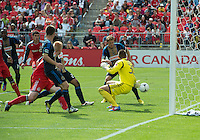15 September 2012: Philadelphia Union defender Sheanon Williams #25 scores a goal during an MLS game between the Philadelphia Union and Toronto FC at BMO Field in Toronto, Ontario Canada. .The game ended in a 1-1 draw.