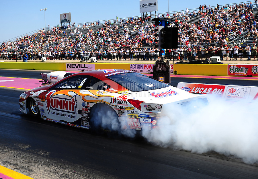 Sept. 25, 2011; Ennis, TX, USA: NHRA pro stock driver Jason Line during the Fall Nationals at the Texas Motorplex. Mandatory Credit: Mark J. Rebilas-