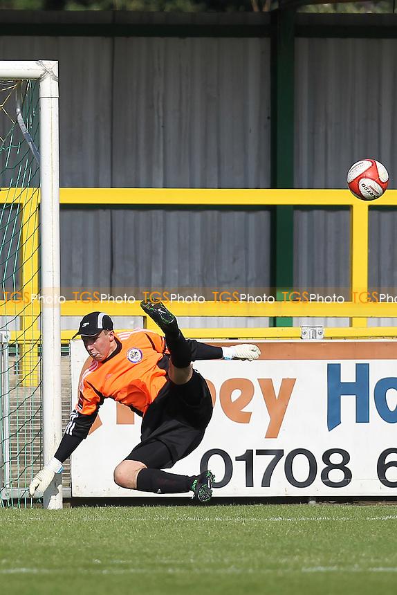 Michael Gooch of Romford makes a fine save to deny Redbridge a long range goal - Romford vs Redbridge - Ryman League Division One North Football at Ship Lane, Thurrock FC - 18/08/12 - MANDATORY CREDIT: Gavin Ellis/TGSPHOTO - Self billing applies where appropriate - 0845 094 6026 - contact@tgsphoto.co.uk - NO UNPAID USE.