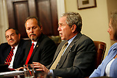 United States President George W. Bush meets with Small and Mid-Sized Business Owners on the Economic Stimulus Package in the Roosevelt Room of The White House, Washington DC, April 07 2008. (l-r) Ray York, Tony Jimenez, President Bush, Darlene Miller.<br /> Credit: Aude Guerrucci / Pool via CNP