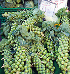 Stalks brussel sprouts on sale market stall priced £1.00