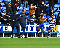 Yakou Meite of Reading runs towards Reading Manager Jose Gomes after scoring the third and winning goal  during Reading vs Wigan Athletic, Sky Bet EFL Championship Football at the Madejski Stadium on 9th March 2019