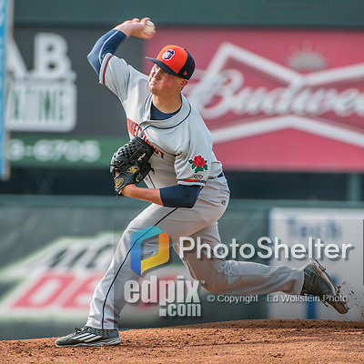 31 July 2016: Connecticut Tigers pitcher Kyle Funkhouser on the mound against the Vermont Lake Monsters at Centennial Field in Burlington, Vermont. The Lake Monsters edged out the Tigers 4-3 in NY Penn League action.  Mandatory Credit: Ed Wolfstein Photo *** RAW (NEF) Image File Available ***