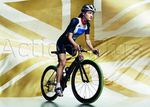 22.03.2012. London, England.  Britain s cyclist Lizzie Armitstead Shows The Uniform of The British cyclist team for The 2012 London by Stella McCartney for the London based 2012 Olympic Games in London