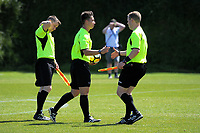 The match officials during the ISPS Handa Premiership football match between Team Wellington and Eastern Suburbs AFC at David Farrington Park in Wellington, New Zealand on Sunday, 22 October 2017. Photo: Dave Lintott / lintottphoto.co.nz