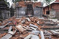 Destroyed structures Goroknath Temple in Kathmandu, Nepal