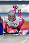 15 December 2006: Noelle Pikus-Pace  , from the USA, starts her run at the FIBT Women's World Cup Skeleton Competition at the Olympic Sports Complex on Mount Van Hoevenburg  in Lake Placid, New York, USA. Pikus-Pace took second place in the FIBT event.&amp;#xA;&amp;#xA;Mandatory Photo credit: Ed Wolfstein Photo<br />