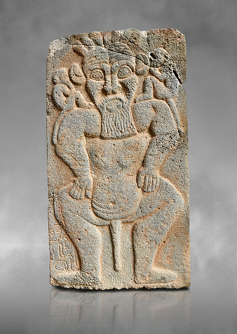 Pictures & images of the North Gate Hittite sculpture stele depicting the Egyptian God Bes. 8the century BC.  Karatepe Aslantas Open-Air Museum (Karatepe-Aslantaş Açık Hava Müzesi), Osmaniye Province, Turkey. Against grey art background