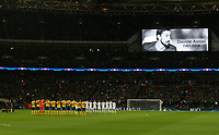 The players pay tribute to Davide Astori<br /> <br /> Photographer Rob Newell/CameraSport<br /> <br /> UEFA Champions League Round of 16 Second Leg - Tottenham Hotspur v Juventus - Wednesday 7th March 2018 - Wembley Stadium - London <br />  <br /> World Copyright &copy; 2017 CameraSport. All rights reserved. 43 Linden Ave. Countesthorpe. Leicester. England. LE8 5PG - Tel: +44 (0) 116 277 4147 - admin@camerasport.com - www.camerasport.com