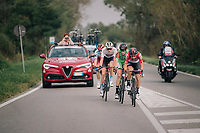 day-long breakaway group consisiting of: <br /> Thomas de Gendt (BEL/Lotto-Soudal), Willie Smit (ZAF/Katusha-Alpecin), Krists Neilands (LAT/Israel Cycling Academy) & Umberto Orsini (ITA/Bardiani - CSF)<br /> <br /> 99th Milano - Torino 2018 (ITA)<br /> from Magenta to Superga: 200km