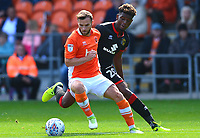 Blackpool's Jimmy Ryan competes with Milton Keynes Dons' Hugo Logan<br /> <br /> Photographer Richard Martin-Roberts/CameraSport<br /> <br /> The EFL Sky Bet League One - Blackpool v Milton Keynes Dons - Saturday August 12th 2017 - Bloomfield Road - Blackpool<br /> <br /> World Copyright &copy; 2017 CameraSport. All rights reserved. 43 Linden Ave. Countesthorpe. Leicester. England. LE8 5PG - Tel: +44 (0) 116 277 4147 - admin@camerasport.com - www.camerasport.com