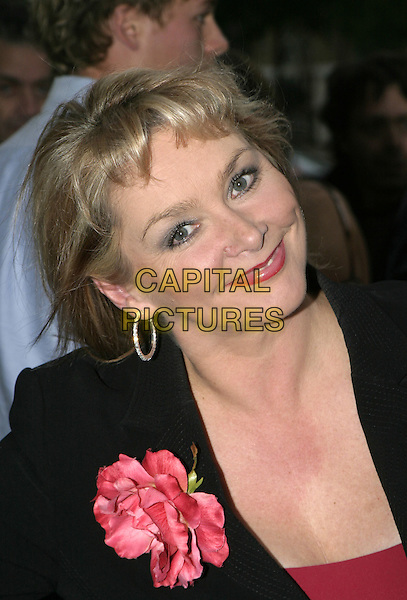 "CHERYL BAKER.""An Audience with Harry Hill"" at London Studios, September 19th 2004..half length red flower corsage.Ref: AH.www.capitalpictures.com.sales@capitalpictures.com.©Capital Pictures."