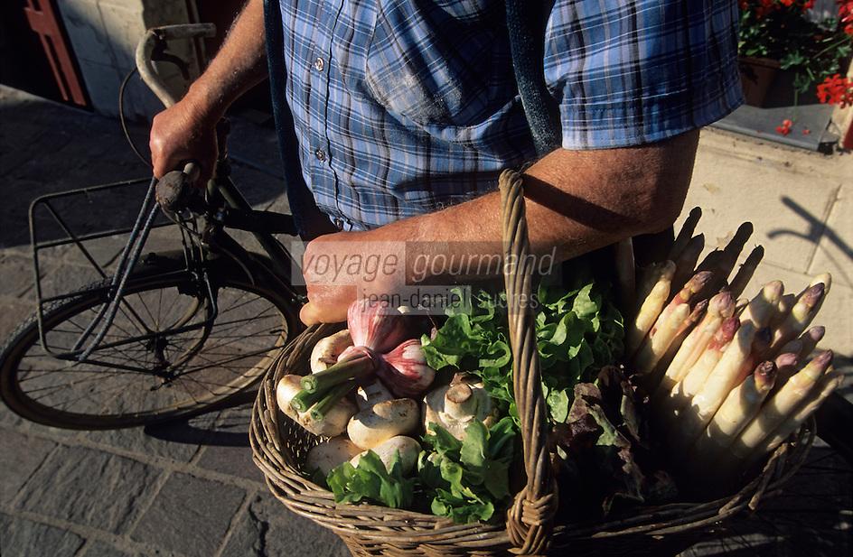 """Europe/France/Centre/37/Indre-et-Loire/Azay-le-Rideau : M. Robert Denis, viticulteurs AOC Azay-le-Rideau devant le café """"Au Bon Vin de Touraine"""" - Les légumes du potager"""