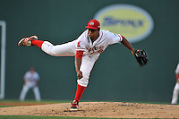 Pitcher Carlos Pinales (48) of the Greenville Drive delivers a pitch in a game against the Savannah Sand Gnats on Thursday, September 3, 2015, at Fluor Field at the West End in Greenville, South Carolina. (Tom Priddy/Four Seam Images)