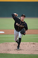 Logan Gilbert (45) of the Modesto Nuts pitches against the Visalia Rawhide at Recreation Ballpark on June 10, 2019 in Visalia, California. (Larry Goren/Four Seam Images)