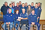 Donal Groves, chairman Ballyhar FC, pictured presenting the cheque for EUR5,500 to Sarah Murphy, Firies, winner of their lotto jackpot, at their clubhouse on Tuesday evening. Also pictured are Tom Murphy, Tony O'Connor, seller, Liam Barry, Laura Murphy, John Joe O'Dowd, Noel Kenny, Anthony McKenna, Donie Teahan, Donal O'Donoghue, Maureen Murphy, Timmy Teahan, Brendan O'Sullivan and John Kerrisk..NO FEE...PR SHOT