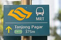 Singapore, MRT Mass Rapid Transit Sign.