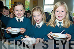 BREKKIE: Enjoying their cereal at the breakfast morning in aid of ChildLine at the Nagle Rice School, Milltown on Friday were l-r: Lorna McCarthy, Fiona O'Leary, Katie Fleming.   Copyright Kerry's Eye 2008