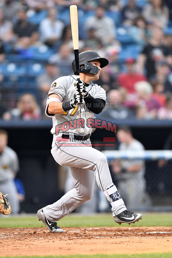 West Virginia Power left fielder Ryan Ramiz (27) swings at a pitch during a game against the Asheville Tourists at McCormick Field on April 18, 2019 in Asheville, North Carolina. The Power defeated the Tourists 12-7. (Tony Farlow/Four Seam Images)