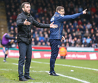 Nathan Jones (Manager) of Luton Town (left) during the Sky Bet League 2 match between Wycombe Wanderers and Luton Town at Adams Park, High Wycombe, England on 6 February 2016. Photo by David Horn.