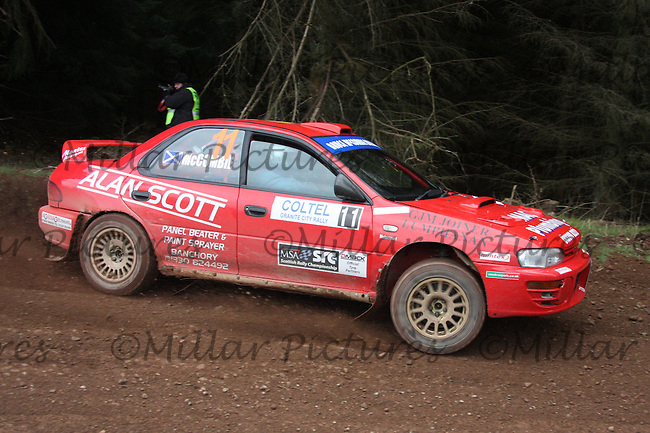 Bruce McCombie / Michael Coutts in a Subaru Impreza at Junction 8 on Whytes Cranes Special Stage 3 Drumtochty of the Coltel Granite City Rally 2012 which was based at the Thainstone Agricultural Centre, Inverurie.