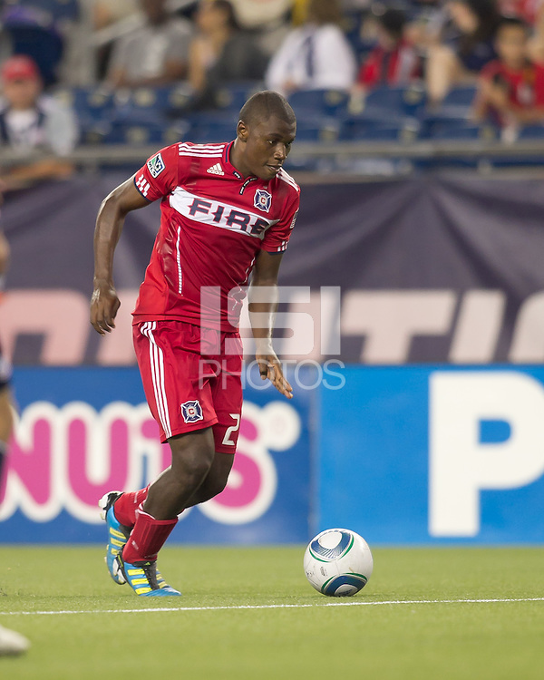 Chicago Fire forward Cristian Nazarit (29) on the attack. In a Major League Soccer (MLS) match, the New England Revolution tied the Chicago Fire, 1-1, at Gillette Stadium on June 18, 2011.