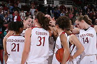 12 January 2008: Rosalyn Gold-Onwude, Morgan Clyburn, Kayla Pedersen, and team during Stanford's 83-49 win over Oregon at Maples Pavilion in Stanford, CA.