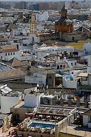 View of cityscape with Santa Cruz Church from the Giralda Tower, Seville, Andalusia, Spain.