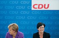 Berlin, die amtierende Ministerpraesidentin von Thueringen Christine Lieberknecht (CDU, r.) und Bundeskanzlerin Angela Merkel (CDU) am Montag (15.09.2014) im Konrad-Adenauer-Haus vor der Bundesvorstandssitzung ihrer Partei nach der Landtagswahl. Foto: Steffi Loos/CommonLens