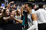 SAN ANTONIO, TX - MARCH 31: Jalen Brunson #1 of the Villanova Wildcats celebrates with fans after the team's win over the Kansas Jayhawks  in the 2018 NCAA Men's Final Four semifinal game at the Alamodome on March 31, 2018 in San Antonio, Texas.  (Photo by Josh Duplechian/NCAA Photos via Getty Images)