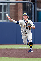 Michigan Wolverines infielder Jack Van Remortel (51) warms up before the NCAA baseball game against the Indiana State Sycamores on April 10, 2019 at Ray Fisher Stadium in Ann Arbor, Michigan. Michigan defeated Indiana State 6-4. (Andrew Woolley/Four Seam Images)