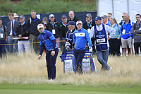 Alex Fitzpatrick (GB&I) and Conor Purcell (GB&I) on the 1st during the Foursomes at the Walker Cup, Royal Liverpool Golf CLub, Hoylake, Cheshire, England. 07/09/2019.<br /> Picture Thos Caffrey / Golffile.ie<br /> <br /> All photo usage must carry mandatory copyright credit (© Golffile | Thos Caffrey)