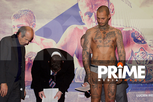 Andrea Di Luisa during the weigh-in ahead of the  George Groves v Andrea di Luisa fight at the Copper Box Arena in London's Queen Elizabeth Olympic Park on Saturday 30th January 2016, at Stratford Circus, Theatre Square, England on 29 January 2016. Photo by Alan  Stanford/PRiME Media Images.