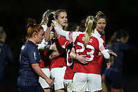 Vivianne Miedema of Arsenal (C) scores the second goal for her team and celebrates with her team mates during Arsenal Women vs Manchester United Women, FA WSL Continental Tyres Cup Football at Meadow Park on 7th February 2019