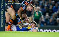 Picture by Allan McKenzie/SWpix.com - 23/03/2018 - Rugby League - Betfred Super League - Leeds Rhinos v Castleford Tigers - Elland Road, Leeds, England - Castleford's Mike McMeeken & Jamie Ellis can't prevent  Leeds's Ash Handley scoring a try.
