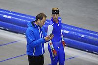 SCHAATSEN: HEERENVEEN: IJsstadion Thialf, 03-06-2013, training merkenteams op zomerijs, Johan de Wit (trainer), Anouk van der Weijden, ©foto Martin de Jong