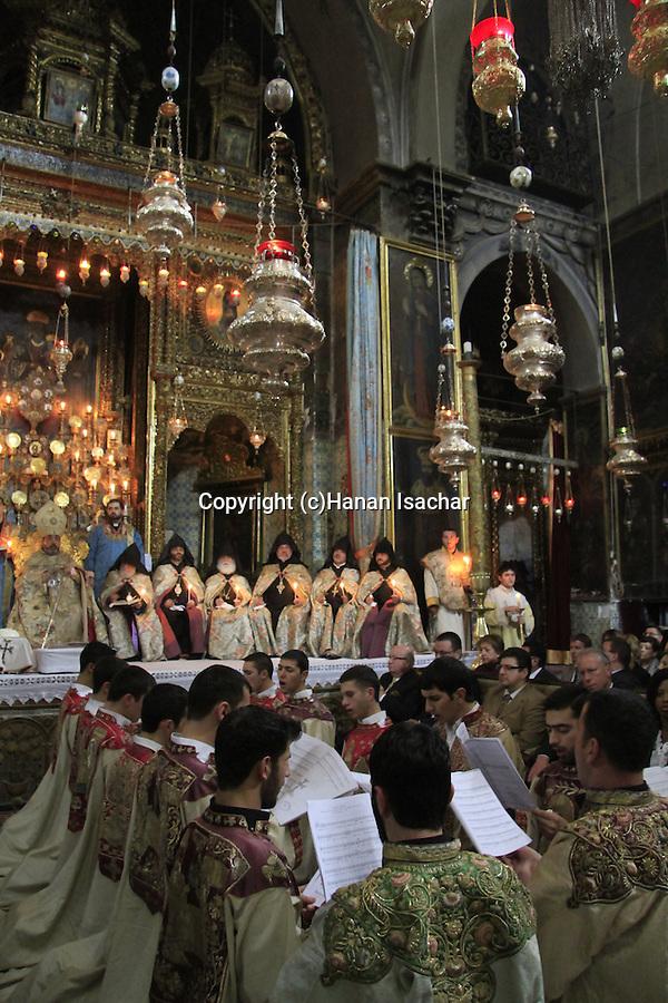 Israel, Jerusalem, Easter, Armenian Orthodox Maundy Thursday ceremony at St. James Cathedral
