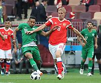 Salem Al-Dawsari (Saudi-Arabien) gegen Iury Gazinsky (Russland, Russia) - 14.06.2018: Russland vs. Saudi Arabien, Eröffnungsspiel der WM2018, Luzhniki Stadium Moskau